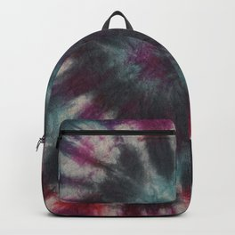 Tie Dye Spiral Black Turquoise Purple Red Backpack