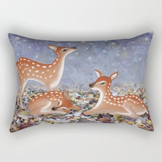 whitetail fawns under the stars Rectangular Pillow
