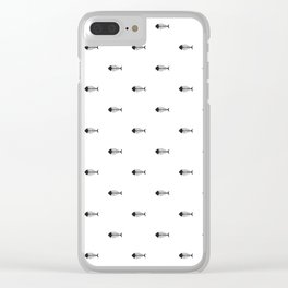 Black & White Fish Skeleton Pattern Design Clear iPhone Case