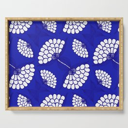 African Floral Motif on Royal Blue Serving Tray