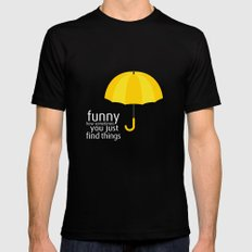 Yellow Umbrella MEDIUM Black Mens Fitted Tee