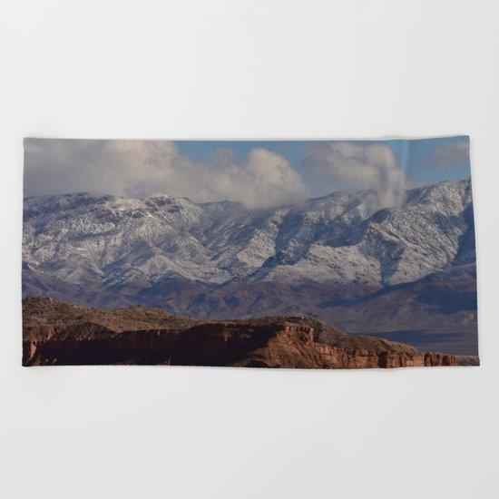 Desert Snow on Christmas - II Beach Towel