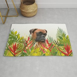 Boxer in Jungle Leaves with Heliconia Rug