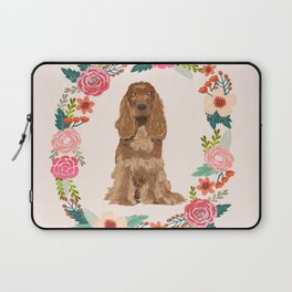 cocker spaniel dog floral wreath dog gifts pet portraits Laptop Sleeve
