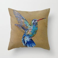 Turquoise Hummingbird Throw Pillow
