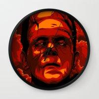 frankenstein Wall Clocks featuring Frankenstein by Denis O'Sullivan