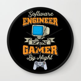 Engineer Gift: Software Engineer by day, Gamer by Night Wall Clock