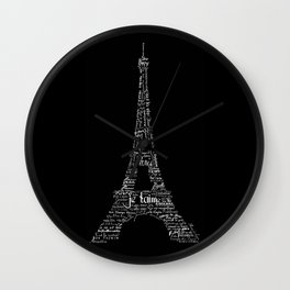 Typographic Eiffel Tower Wall Clock