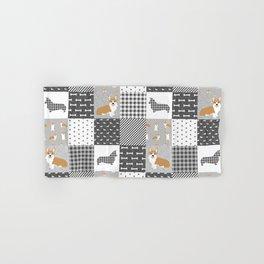 Corgi Patchwork Print - grey, dog, buffalo plaid, plaid, mens corgi dog Hand & Bath Towel