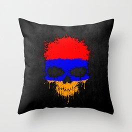 Flag of Armenia on a Chaotic Splatter Skull Throw Pillow