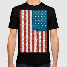 USA Mens Fitted Tee Black LARGE