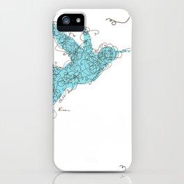 Bird Fly 1 - Aqua/Brown iPhone Case