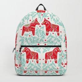 Swedish Dala Horses – Red & Mint Palette Backpack