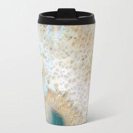 agate, quartz, crystal stone beige gold turquoise Travel Mug