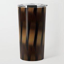 Spinning Columns - Dark Copper - Futuristic Industrial Sci-Fi Pattern Travel Mug