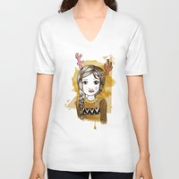 hippie V-neck T-shirts featuring Hippie by Janry