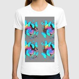 MODERN ART NEON BLUE BUTTERFLIES PATTERNS ART T-shirt