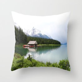 Boat House On Maligne Lake Throw Pillow