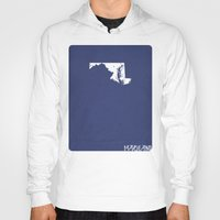 maryland Hoodies featuring Maryland Minimalist Vintage Map by Finlay McNevin