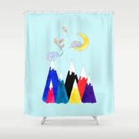 peanuts Shower Curtains featuring Baby, I'd Climb Any Mountain For You by Amaya