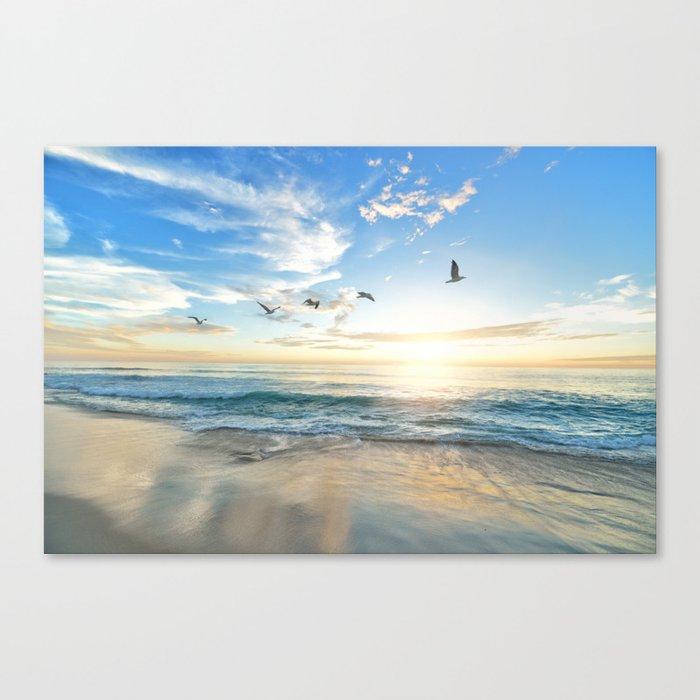 Ocean Beach Waves Sunset Photo Leinwanddruck