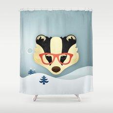 Winter Badger Shower Curtain