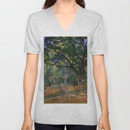 Claude Monet - The Bodmer Oak, Fontainebleau Forest Unisex V-Neck