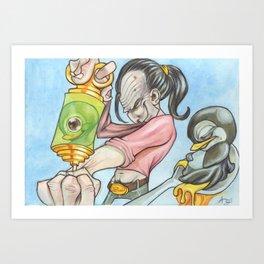 Shoot'n Penguens  Art Print