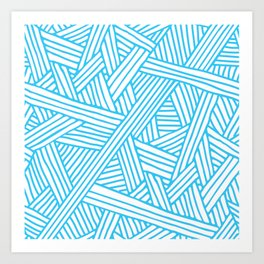 Abstract Teal & white Lines and Triangles Pattern - Mix and Match with Simplicity of Life Art Print