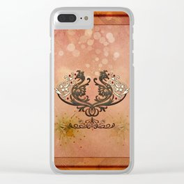 Decorative dragon with floral elements Clear iPhone Case