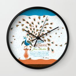 Paisley Peacock Pride and Prejudice: Modern Wall Clock