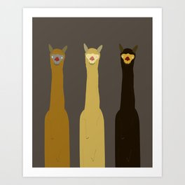 Triple LLAMAS ALPACAS CAMELS - Dark Art Print