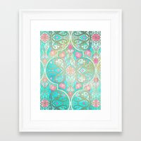 morrocan Framed Art Prints featuring Floral Moroccan in Spring Pastels - Aqua, Pink, Mint & Peach by micklyn