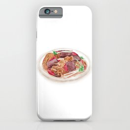 Watercolor Illustration of Chinese Cuisine - Hmong's duck with rice cake supplemented duck blood | 血粑鸭 iPhone Case