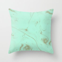 Elegant gold and mint marble image Throw Pillow