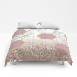 Cherished aspirations rose gold marble Comforters