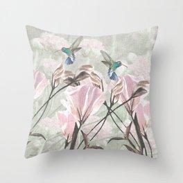 Silver Mountain Humming Birds / Pink Roses Throw Pillow