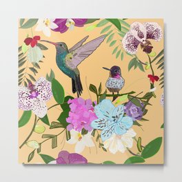 Orchid, Alstroemerias and Cute Humming Birds Pattern Metal Print