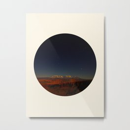 Grand Canyon Sunset Blue & Orange Colors Circle Photo Metal Print