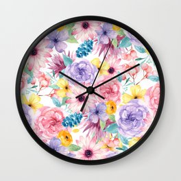 Modern elegant pink lavender yellow watercolor floral Wall Clock
