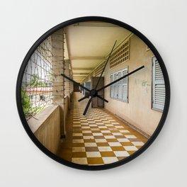 S21 Building C Walkway - Khmer Rouge, Cambodia Wall Clock