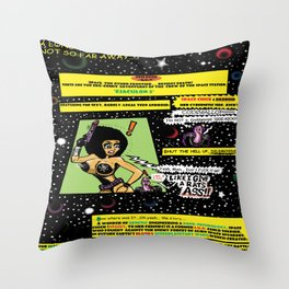 "Space Chick & Nympho: Vampire Warrior Party Girl Comix #1 - Comic Book Page "" In A Galaxy Not So Far Throw Pillow"
