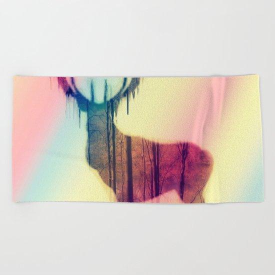 Deer colorful Beach Towel