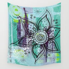 Teal Flower Wall Tapestry