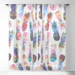 watercolor and nebula pineapples illustration pattern Sheer Curtain