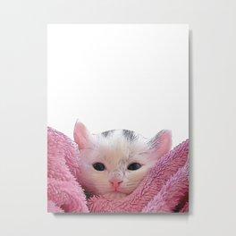 kitten in a blanket Metal Print