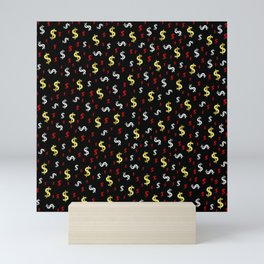 golden,silver,red,black pattern dollar symbol Mini Art Print