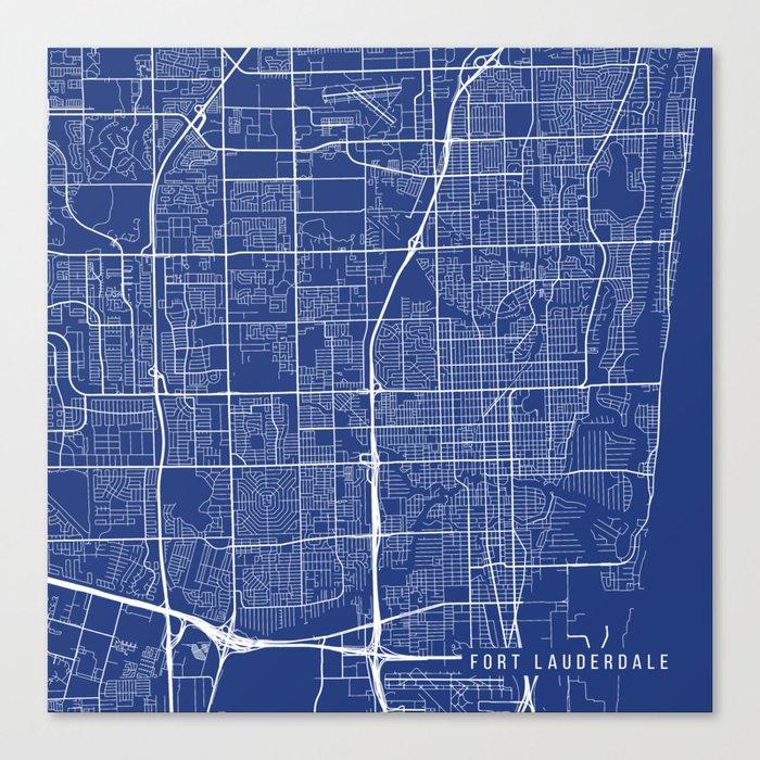 Fort Lauderdale Map, USA - Blue Leinwanddruck