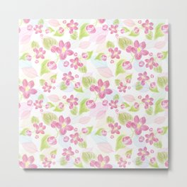 seamless  pattern with pink flowers and leaves. Metal Print