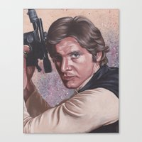 han solo Canvas Prints featuring Han Solo by bdevennyart